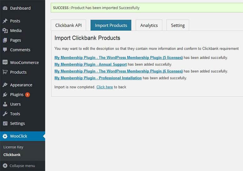 03 import complete - Import Clickbank Products