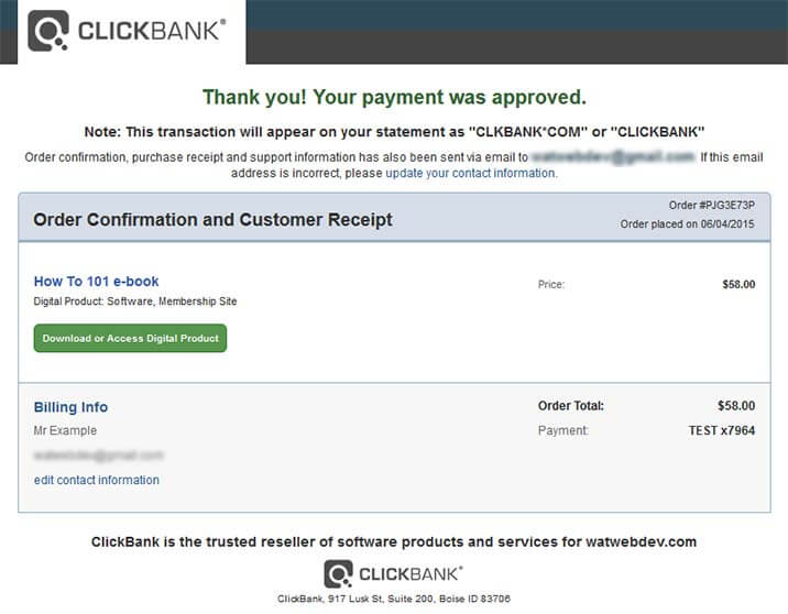 4 clickbank payment confirmation full - Automated Sales and Delivery Process